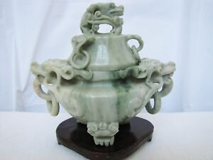 Vintage Chinese Jade Dragon Incense Censer