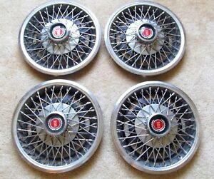 Vintage Ford Hubcaps Wheel Covers 13 Wire Red Center
