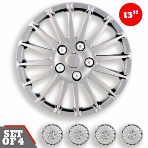 Set 4 Hubcaps 13 Wheel Cover Monza Silver Abs Quality Easy To Install Universal