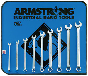 Long Metric Wrench Set Combination 9 Pc 12 Point Full Polish Armstrong Tools