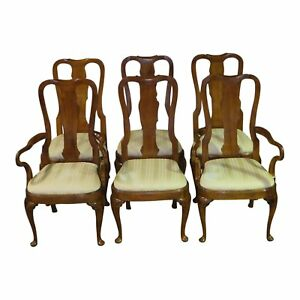 Vintage White Furniture Set Of Six Queen Anne Dining Room Chairs
