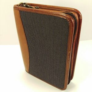 Franklin Covey Compact Riverwood Brown Leather Trim Propex Zipper Planner
