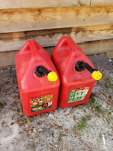 2 Blitz 5 Gallon Gas Cans Hard Spouts With Caps
