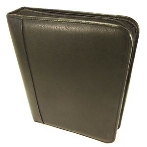 Day timer Black Leather Classic Desk Zipper Planner Daytimer Franklin Covey