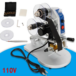 110v Manual Stamping Printer Hot Foil Code Thermal Printing Machine Ribbon Date