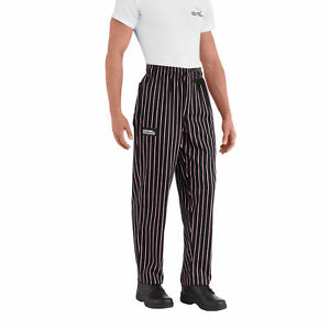 New Chefwear Men s 100 Cotton Baggy Chef Pants Black With Pink Stripes Xs 5xl