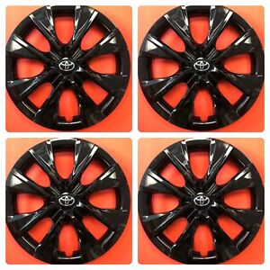 Set Of 4 Black 15 Hubcaps Wheelcovers Fits 2014 2018 Toyota Corolla