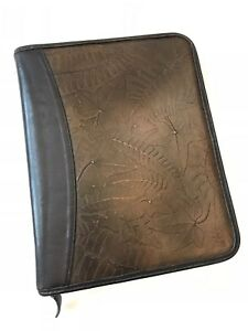 Franklin Covey Quest Planner Brown Leather Zipper Binder Leaf Cl12215 9 X 11