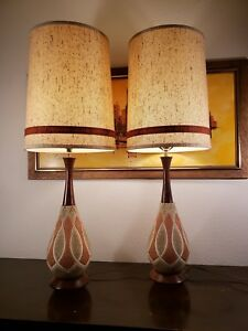 Mid Century Danish Modern Ceramic Pottery Walnut Table Lamps W Original Shades