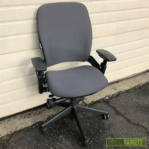 Steelcase Leap V2 Mid back Leather Office Chair Grey Fabric 46216179 See Video