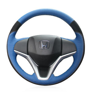 Design Blue Leather Black Suede Steering Wheel Cover For Honda Fit City Jazz Hrv