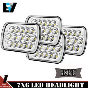Pair 7x6 Rectangle Led Headlights Sealed Beam Headlamps For Chevy Pickup Truck