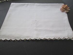 Antique Linen Trousseau Sheet Monogram F E M Scalloped Edge 70 X88