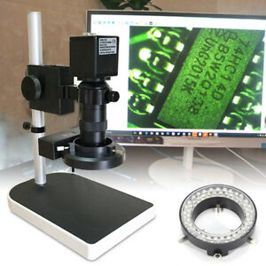 10 180x Zoom Microscope 56 Led Ring Light 16mp Hdmi Camera For Pcb Repair