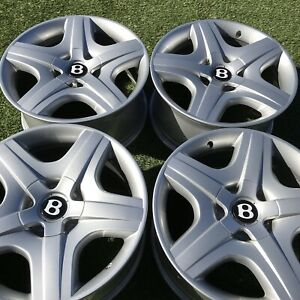 19 Bentley Silver Rims Wheels Oem Factory Continental Gt Gtc New Cond Set Inch
