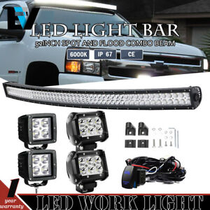 52 Inch Curved Led Light Bar Upper Roof 4 3 Pods For 88 98 Chevy gmc