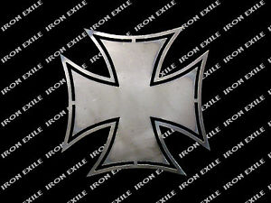 Iron Cross 2 Hot Rod Motorcycle Biker Rat Rod Wwii Emblem Badge Metal Gusset