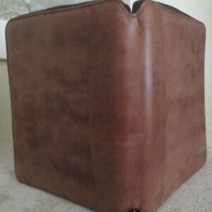 Vtg 90 s Franklin Covey Brown Leather Zip 7 Ring Binder Planner Organizer Usa