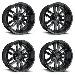 Set 4 22 Fuel Sledge D595 Black Milled Rims 22x10 5 Lug 5x4 5 5x5 Lifted 18mm