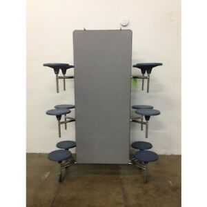 Refurbished Lunch Cafeteria Table Grey Top W 12 Blue Stools 12 Ft adult Size