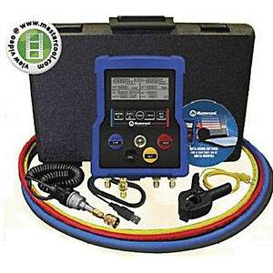 Mastercool 99972 4way Digital Manifold W Ball Valve Hoses Data Software