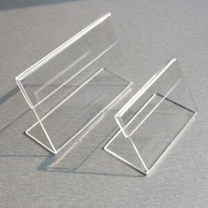 1 3mm Clear Plastic Table Sign Price Tag Label Display Paper Promotion Card Hold