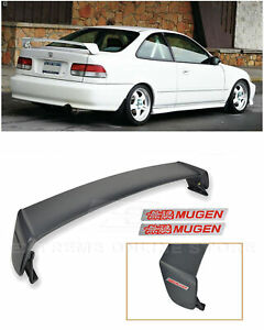 For 96 00 Honda Civic 2dr Mugen Style Rear Wing Spoiler Lip W 2x Red Emblems