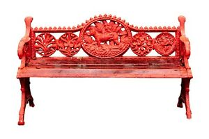 Antique Red Painted Iron Garden Bench 97172