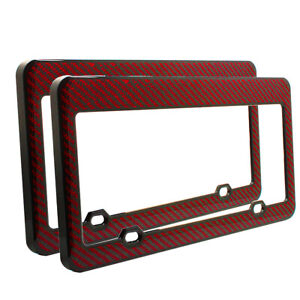 2 X Glossy Real Red Black Carbon Fiber Usa Size License Plate Frame Trim Covers