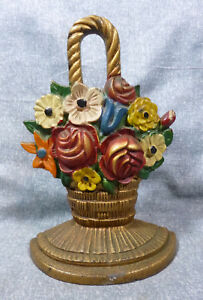 Antique Roses With Mixed Flowers In Basket Cast Iron Doorstop