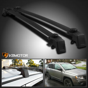 2011 2016 Jeep Compass Aluminum Black Car Roof Top Cross Bar Luggage Cargo Rack