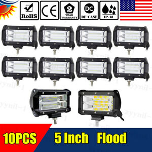 10x72w 5 inch Led Work Light Bar Flood Pods Driving Offroad Tractor 4wd Atv 12v