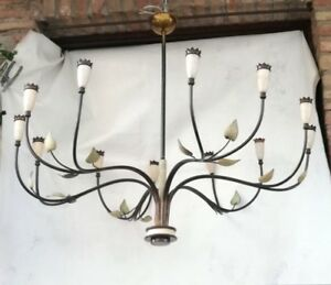 Xxl Mid Century Arredoluce Chandelier 12 Arms Brass Cones With Crowns Italy 1950