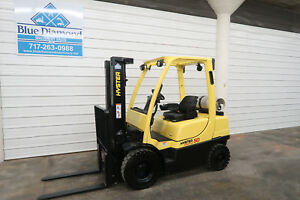 08 Hyster H50ft 5 000 Pneumatic Tire Forklift Lp Gas Three Stage Sideshift
