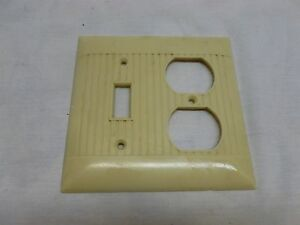 Vtg Art Deco Bakelite Ribbed Combination Light Switch Double Outlet Cover Plate