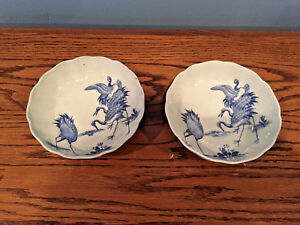 Pair Of Antique 19th Century Chinese Qing Dynasty Porcelain Rice Soup Bowls