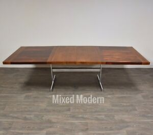 Milo Baughman Style Rosewood Walnut Chrome Dining Table Mid Century Modern