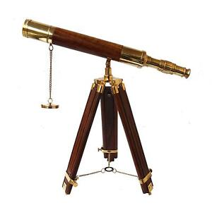 Vintage Table Decorative Shiny Brass Tube Telescope With Antique Wooden Tripod