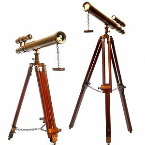 Antiques Gift Floor Standing 18 Brown Antique Telescope With Tripod Stand