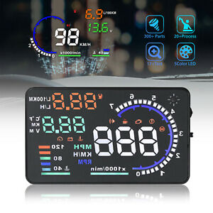 5 5 A8 Car Hud Head Up Display Obdii Obd2 Auto Gauge Dash Projector Speedometer