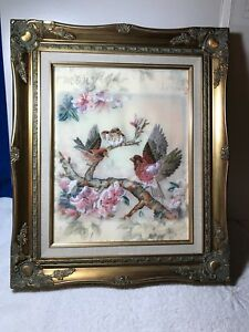 Vintage Hand Embroidered Puffed Framed Picture Birds Flowers