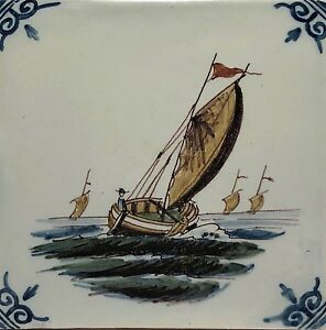 Vintage Hand Painted Dutch Delft Art Pottery Marked Ceramic Tile Sailboat