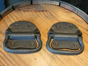 Lot Of 2 Simple Vintage Style Cast Iron Trunk Handles 4 Wide Hardware Rustic