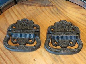 Lot Of 2 Eastlake Vintage Style Cast Iron Trunk Handles 3 25 Wide Hardware