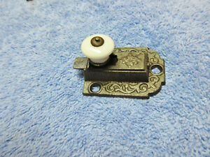 Cabinet Catch Jelly Cupboard Slide Latch Round Porcelian White Knob Old Vintage