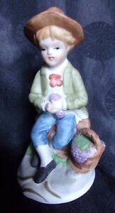 Capodimonte Italy Figurine Small Boy With Basket Marked Crown N