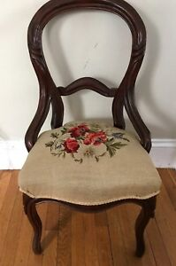Antique Vintage Carved Balloon Back Chair Needlepoint Upholstered 4 Spring Seat