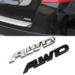 Chrome Awd Logo Decal Emblem Badge Sticker For Toyota Highlander 4x4 Suv Honda
