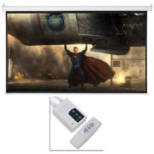 100 Electric Motorized Remote Projection Screen Hd Movie Projector White 16 9