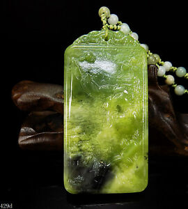 100 Natural Hand Carved Chinese Jade Pendant Jadeite Necklace Scenery 429d